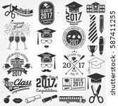 set of vector graduates class... | Shutterstock .eps vector #587411255