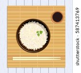 rice in ceramic bowl with... | Shutterstock .eps vector #587413769
