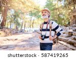 enjoying travel. senior smiling ... | Shutterstock . vector #587419265