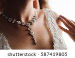 bride wedding details   jewelry ... | Shutterstock . vector #587419805