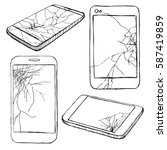 cracked screen display. sketch... | Shutterstock .eps vector #587419859