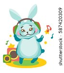 bunny listens to music in...   Shutterstock .eps vector #587420309