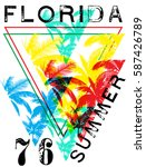 florida summer tee graphic... | Shutterstock .eps vector #587426789