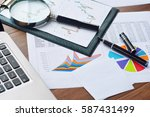 financial printed paper charts  ... | Shutterstock . vector #587431499