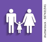 man  woman and kid sign. vector.... | Shutterstock .eps vector #587431541