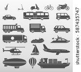 transport icons set vector... | Shutterstock .eps vector #587435747