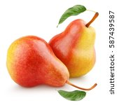 Two Ripe Red Yellow Pear Fruits ...