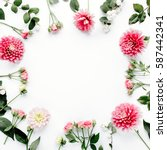 round frame with pink flower... | Shutterstock . vector #587442341