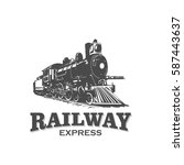 railway express train vintage... | Shutterstock .eps vector #587443637