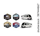 bus and camper garage logo  | Shutterstock .eps vector #587444867
