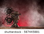 old style movie projector ...   Shutterstock . vector #587445881