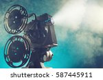 old style movie projector ... | Shutterstock . vector #587445911