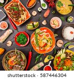 various of asian meals on... | Shutterstock . vector #587446304