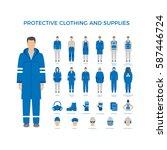 set of men in protective... | Shutterstock . vector #587446724