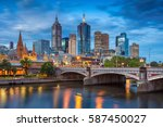 city of melbourne. cityscape... | Shutterstock . vector #587450027