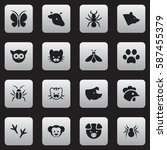 set of 16  zoo icons. includes...