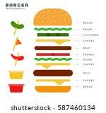 recipe of burger vector flat... | Shutterstock .eps vector #587460134