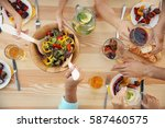people having barbecue picnic... | Shutterstock . vector #587460575