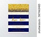 gold glitter border with navy... | Shutterstock .eps vector #587463485