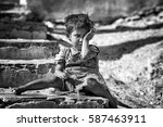 jaipur   dec 29  young homeless ... | Shutterstock . vector #587463911