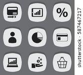set of 9  analytics icons....