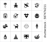 set of 16 editable baby icons.... | Shutterstock .eps vector #587476211