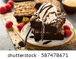 fudgy brownies with nuts ... | Shutterstock . vector #587478671