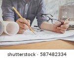 close up man working of... | Shutterstock . vector #587482334