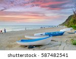 sunset on the beach. colorful...   Shutterstock . vector #587482541