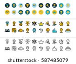 black and color outline icons... | Shutterstock .eps vector #587485079