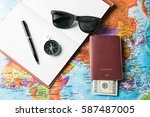 travel concept with notebook... | Shutterstock . vector #587487005