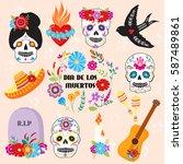 colorful symbols dia de los... | Shutterstock .eps vector #587489861