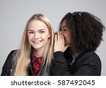 two teenage hipster girls in... | Shutterstock . vector #587492045