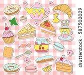 doodle set   tea  bakery ... | Shutterstock .eps vector #587502029
