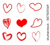 hand drawn hearts | Shutterstock .eps vector #587505569