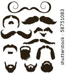 set of mustache and beard... | Shutterstock .eps vector #58751083