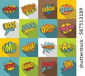 comic colored sound icons set.... | Shutterstock .eps vector #587513189