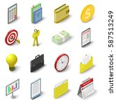business icons set. isometric... | Shutterstock .eps vector #587513249
