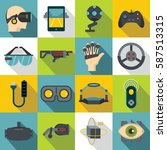 virtual reality icons set. flat ... | Shutterstock .eps vector #587513315