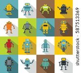 robot icons set. flat...