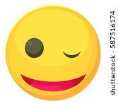 winking smiley icon. cartoon... | Shutterstock .eps vector #587516174