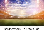 stadium in lights and flashes... | Shutterstock . vector #587525105