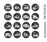 construction equipment icon set ...