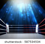 boxing ring with illumination... | Shutterstock . vector #587534534