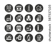 building icon set in circle... | Shutterstock .eps vector #587537105