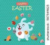 vintage easter egg poster... | Shutterstock .eps vector #587549825
