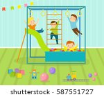 kids playroom with light... | Shutterstock .eps vector #587551727