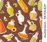 different food oil in bottles... | Shutterstock .eps vector #587551829