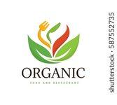 organic logo  vegetarian food...   Shutterstock .eps vector #587552735