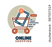 tablet in shopping trolley icon ... | Shutterstock .eps vector #587557319
